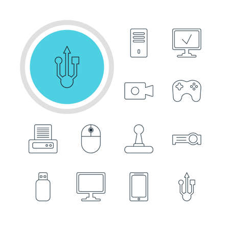 minicomputer: Vector Illustration Of 12 Notebook Icons. Editable Pack Of Screen, Printer, Game Controller And Other Elements.