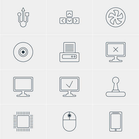 minicomputer: Vector Illustration Of 12 Laptop Icons. Editable Pack Of Screen, Smartphone, Online Computer And Other Elements.