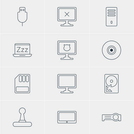 minicomputer: Vector Illustration Of 12 Laptop Icons. Editable Pack Of Access Denied, Antivirus, Screen And Other Elements.