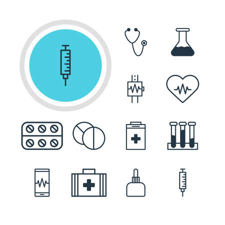 phial: Vector Illustration Of 12 Medical Icons. Editable Pack Of Phone Monitor, Exigency, Flask And Other Elements. Illustration