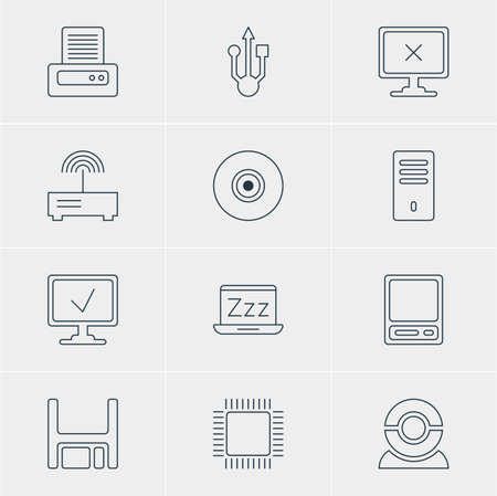 minicomputer: Vector Illustration Of 12 Laptop Icons. Editable Pack Of Web Camera, Usb Icon, Access Denied And Other Elements.