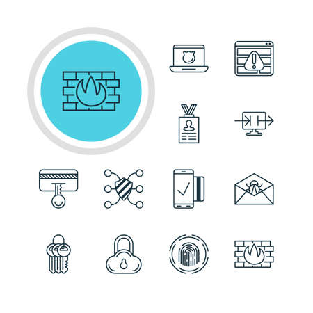 valid: Vector Illustration Of 12 Internet Security Icons. Editable Pack Of Safety Key, Finger Identifier, Network Protection And Other Elements.