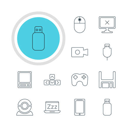 Vector Illustration Of 12 Notebook Icons. Editable Pack Of Movie Cam, Web Camera, Pda And Other Elements.