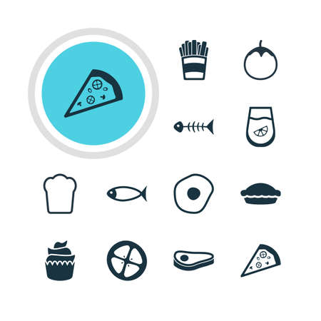flan: Vector Illustration Of 12 Meal Icons. Editable Pack Of Juice, Seafood, Flan And Other Elements.