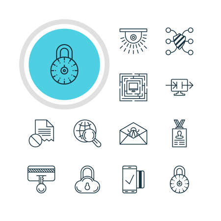 valid: Vector Illustration Of 12 Data Protection Icons. Editable Pack Of Camera, Internet Surfing, Safety Key And Other Elements.