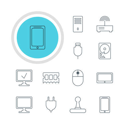 minicomputer: Vector Illustration Of 12 Computer Icons. Editable Pack Of Memory Chip, Game Controller, Router And Other Elements. Illustration