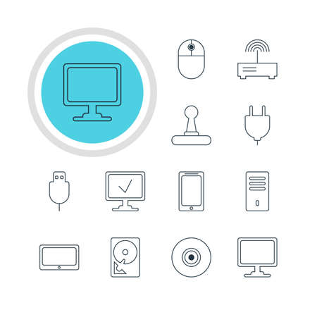 Vector Illustration Of 12 Notebook Icons. Editable Pack Of Screen, Game Controller, Serial Bus And Other Elements.