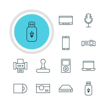 Vector Illustration Of 12 Hardware Icons. Editable Pack Of Photography, Photocopier, Smartphone And Other Elements.
