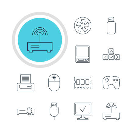 Vector Illustration Of 12 Laptop Icons. Editable Pack Of Flash Drive, Serial Bus, Gamepad And Other Elements.