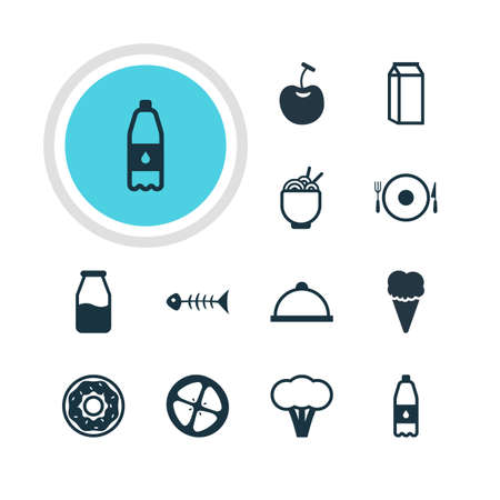 cruet: Vector Illustration Of 12 Cooking Icons. Editable Pack Of Cruet, Berry Type, Drink Bottle And Other Elements.