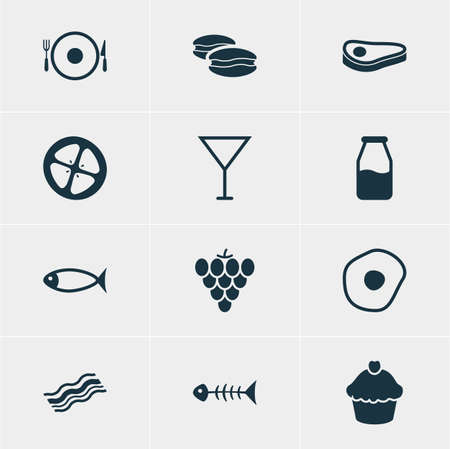 nonfat: Vector Illustration Of 12 Dish Icons. Editable Pack Of Beefsteak, Vineyard, Ham And Other Elements.