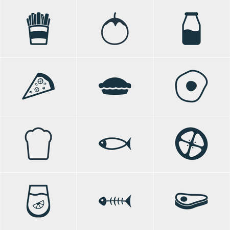 flan: Vector Illustration Of 12 Meal Icons. Editable Pack Of Skeleton, Flan, Potato And Other Elements. Illustration