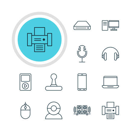hard drive: Vector Illustration Of 12 Technology Icons. Editable Pack Of Computer, Smartphone, Cursor Controller And Other Elements. Illustration