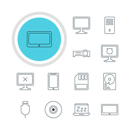minicomputer: Vector Illustration Of 12 Computer Icons. Editable Pack Of Laptop, Tablet, Access Denied And Other Elements. Illustration
