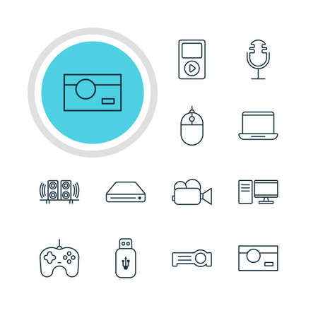 ssd: Vector Illustration Of 12 Hardware Icons. Editable Pack Of Cursor Controller, Loudspeaker, Joypad And Other Elements.