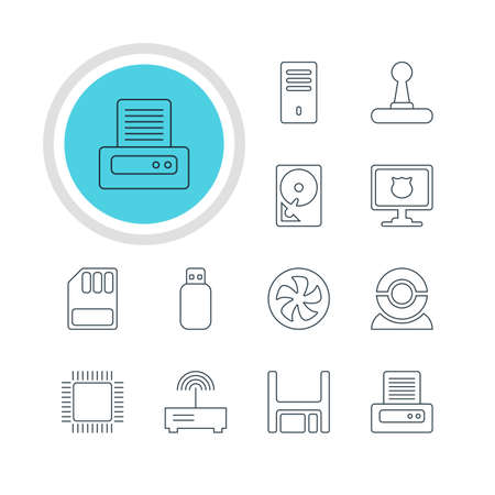 Vector Illustration Of 12 Computer Icons. Editable Pack Of Web Camera, Printer, Router And Other Elements. Illustration