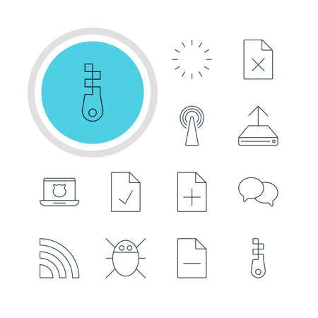 wap: Vector Illustration Of 12 Network Icons. Editable Pack Of Router, Removing File, Talking And Other Elements. Illustration