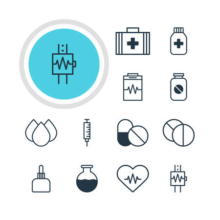diastolic: Vector Illustration Of 12 Health Icons. Editable Pack Of Round Tablet, Trickle, Treatment And Other Elements.