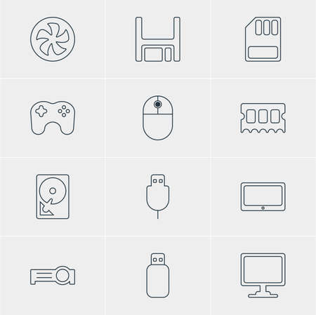 airflow: Vector Illustration Of 12 Laptop Icons. Editable Pack Of Gamepad, Presentation, Cooler And Other Elements.
