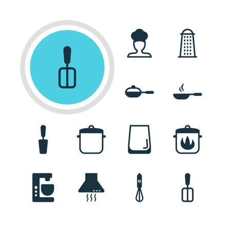 coking: Vector Illustration Of 12 Cooking Icons. Editable Pack Of Cooking Spade, Slicer, Glass Cup And Other Elements.