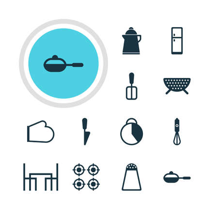 percolate: Vector Illustration Of 12 Restaurant Icons. Editable Pack Of Furnace, Tea, Pan And Other Elements.