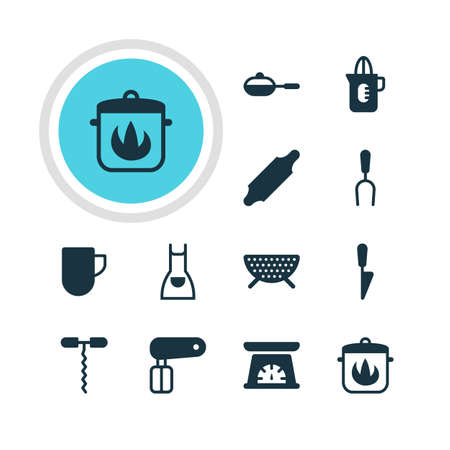drainer: Vector Illustration Of 12 Restaurant Icons. Editable Pack Of Wine Opener, Whisk, Shaker And Other Elements.