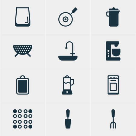 percolate: Vector Illustration Of 12 Kitchenware Icons. Editable Pack Of Cooker, Fork, Fruit Squeezer And Other Elements.