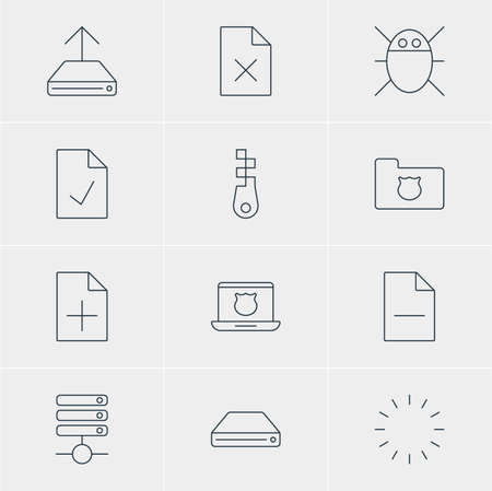 wap: Vector Illustration Of 12 Network Icons. Editable Pack Of Secure Laptop, Document Adding, Privacy Doc And Other Elements. Illustration