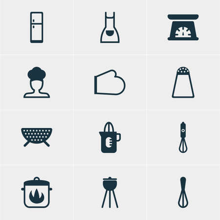 percolate: Vector Illustration Of 12 Cooking Icons. Editable Pack Of Measuring Tool, Pepper Container, Stewpot And Other Elements.