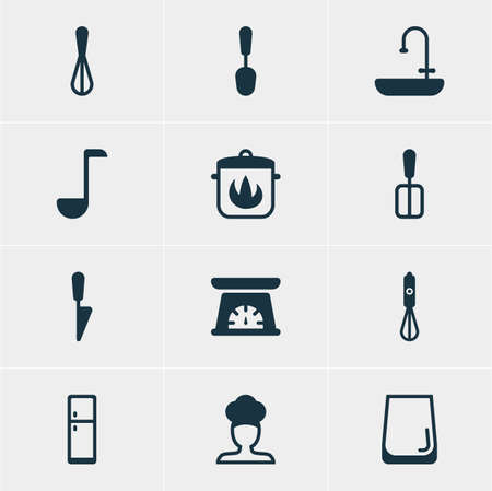 Vector Illustration Of 12 Cooking Icons. Editable Pack Of Stewpot, Kitchen Dagger, Soup Spoon And Other Elements. Illustration