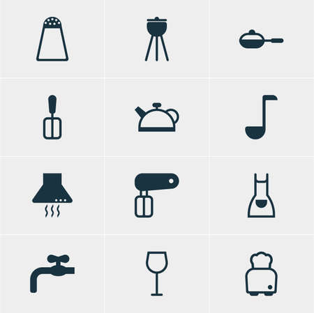 homemaker: Vector Illustration Of 12 Restaurant Icons. Editable Pack Of Soup Spoon, Barbecue, Faucet And Other Elements. Illustration
