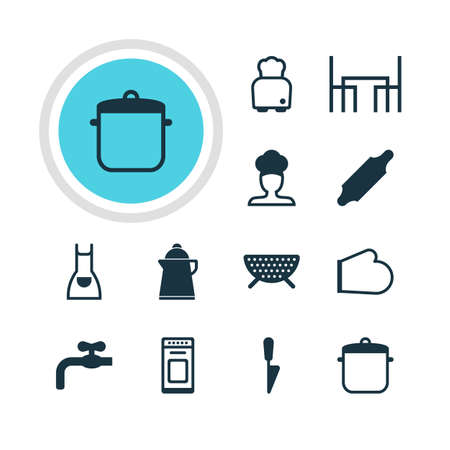 percolate: Vector Illustration Of 12 Cooking Icons. Editable Pack Of Kitchen Dagger, Oven Mitts, Bakery Roller And Other Elements.