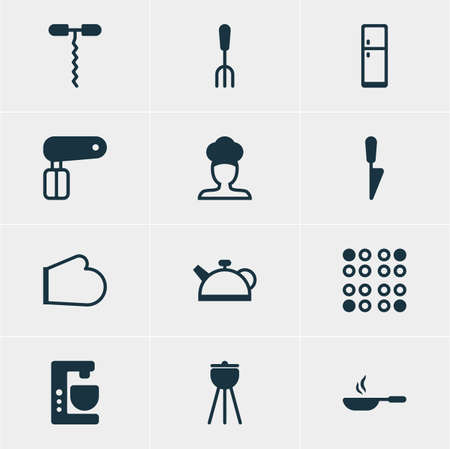 coking: Vector Illustration Of 12 Restaurant Icons. Editable Pack Of Cook, Refrigerator, Teakettle And Other Elements. Illustration