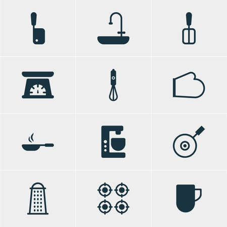 Vector Illustration Of 12 Restaurant Icons. Editable Pack Of Furnace, Mixer, Slicer And Other Elements.