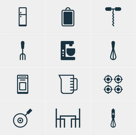 coking: Vector Illustration Of 12 Cooking Icons. Editable Pack Of Handmixer, Refrigerator , Chopping Desk Elements. Illustration