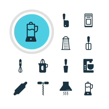 juice extractor: Vector Illustration Of 12 Cooking Icons. Editable Pack Of Cooking Spade, Oven, Bakery Roller And Other Elements.