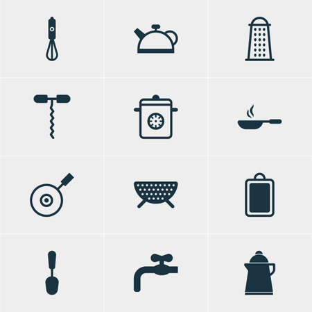 percolate: Vector Illustration Of 12 Kitchenware Icons. Editable Pack Of Frying Pan , Sieve, Handmixer Elements.