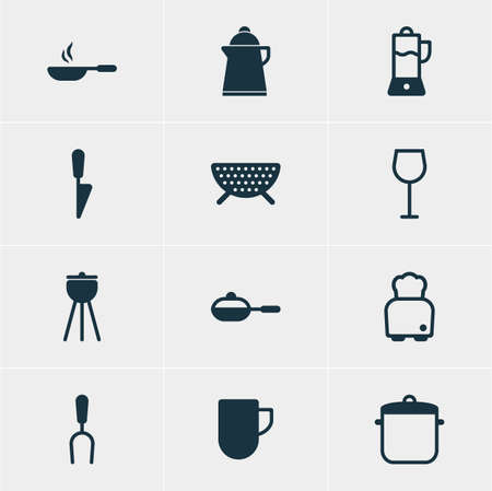browning: Vector Illustration Of 12 Kitchenware Icons. Editable Pack Of Wine, Kitchen Dagger, Frying Pan And Other Elements. Illustration