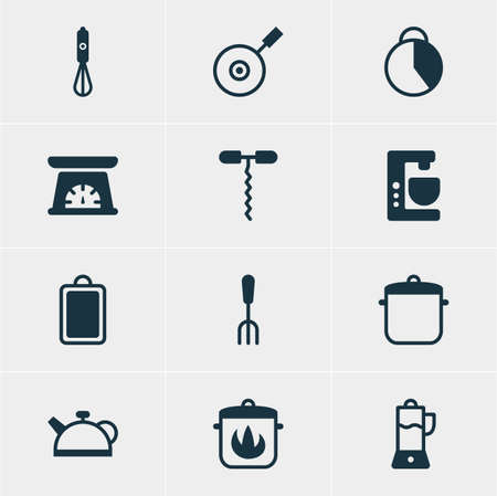 browning: Vector Illustration Of 12 Kitchenware Icons. Editable Pack Of Stewpot, Teakettle, Skillet And Other Elements. Illustration