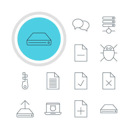 wap: Vector Illustration Of 12 Web Icons. Editable Pack Of Fastener, Talking, Hard Drive Disk And Other Elements. Illustration