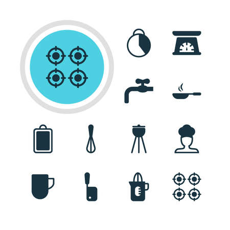 meat chopper: Vector Illustration Of 12 Kitchenware Icons. Editable Pack Of Shaker, Corolla, Frying Pan And Other Elements.