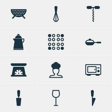 drainer: Vector Illustration Of 12 Kitchenware Icons. Editable Pack Of Tea, Cook, Measuring Tool.
