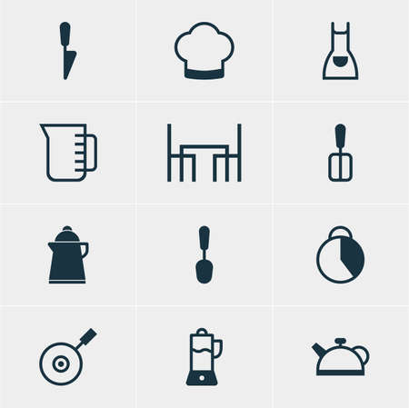 browning: Vector Illustration Of 12 Restaurant Icons. Editable Pack Of Tea, Fruit Squeezer, Carafe And Other Elements.