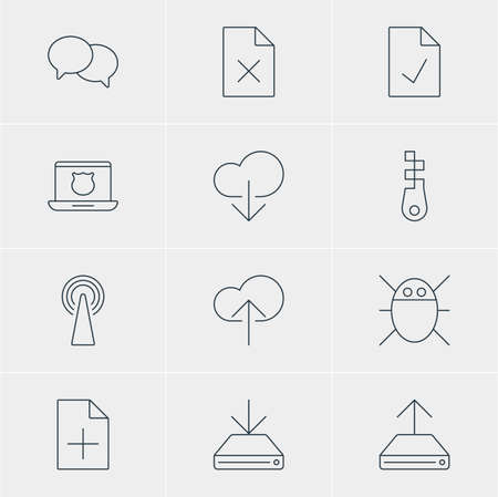 unbuttoned: Vector Illustration Of 12 Web Icons. Editable Pack Of Data Upload, Information Load, Router And Other Elements.