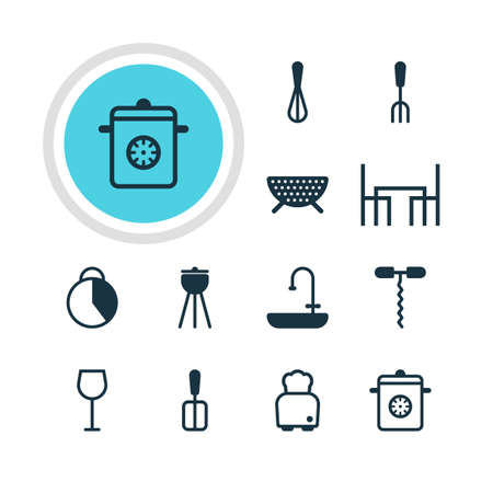 washstand: Vector Illustration Of 12 Kitchenware Icons. Editable Pack Of Washstand, Wine, Sieve Elements. Illustration