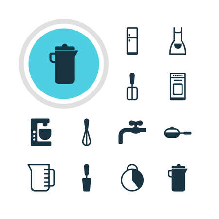 browning: Vector Illustration Of 12 Kitchenware Icons. Editable Pack Of Refrigerator, Oven, Cooking Spade And Other Elements.