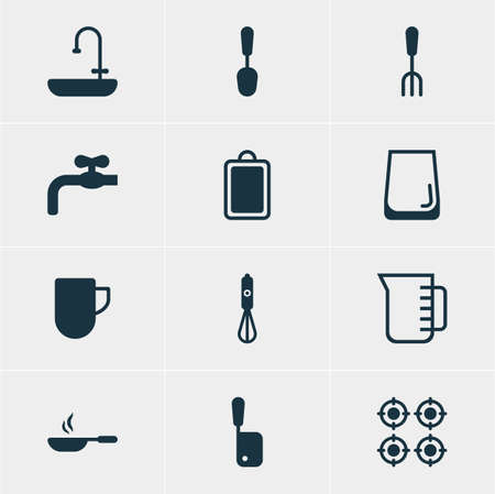 washbowl: Vector Illustration Of 12 Cooking Icons. Editable Pack Of Furnace, Glass Cup, Carafe And Other Elements.