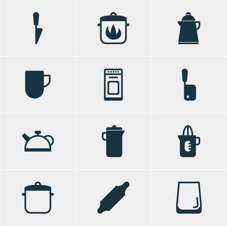 Vector Illustration Of 12 Restaurant Icons. Editable Pack Of Butcher Knife, Tea, Glass Cup And Other Elements.