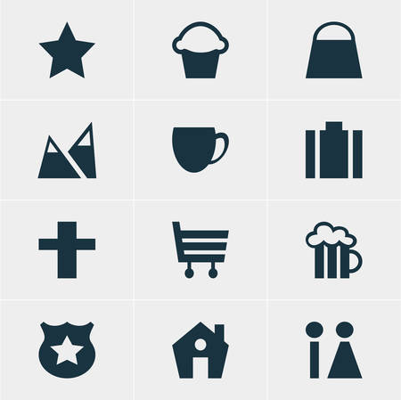 Vector Illustration Of 12 Check-In Icons. Editable Pack Of Bookmark, Cake, Briefcase And Other Elements. Illustration