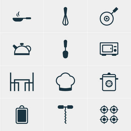 Vector Illustration Of 12 Kitchenware Icons. Editable Pack Of Frying Pan, Oven, Wine Opener And Other Elements.